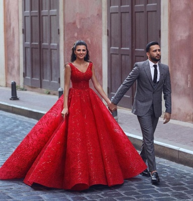 Red Straps Sweetheart Sequin Ball Gown Prom Dresses | Crystal Lace Evening Dresses_2