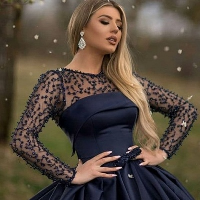 Dark Navy Jewel Long Sleeve Pearls Ball Gown Prom Dresses | Puffy Evening Dresses_3