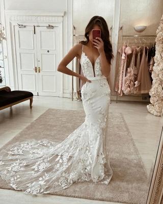Spaghetti Strap Deep V Neck Floral Mermaid Wedding Dresses With Sash_2