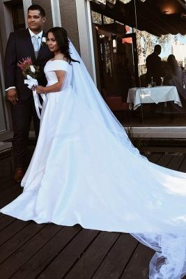 Off The Shoulder Sweetheart Backless Satin A  Line Wedding Dresses_1
