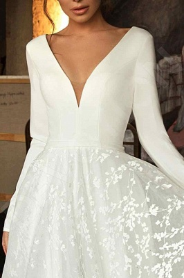 Elegant Long Sleeve V Neck A Line Wedding Dresses | Lace Wedding Gown_3