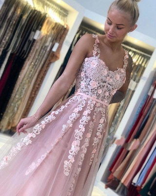 Spaghetti Strap Backless Applique Sash  Floor Length A Line Prom Dresses_5