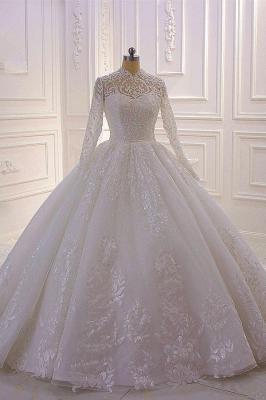 Gorgeous Long Sleeve High Neck Applique Ball Gown Wedding Dresses | Sequin Floor Legnth Wedding Gown_1