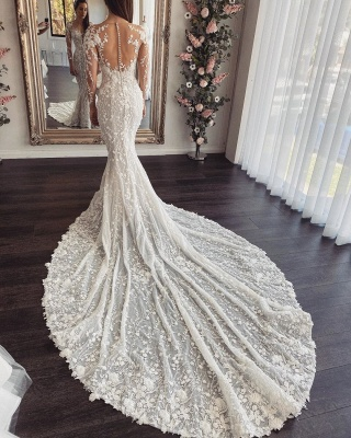 Elegant Jewel Long Sleeve Illusion Back Lace Floral Fitted Mermaid Wedding Dresses_2