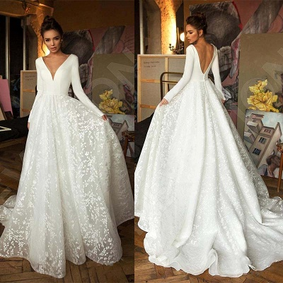Elegant Long Sleeve V Neck A Line Wedding Dresses | Lace Wedding Gown_7