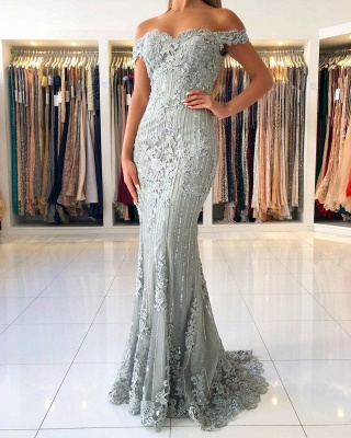 Elegant Sweetheart Off The Shoulder Backless  Applique Sash Floor Length Mermaid Prom Dresses_3