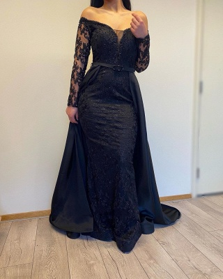 Off The Shoulder Backless  Long  Sleeve Lace Sequin A Line Prom Dresses With Sash_3