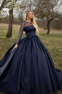 Dark Navy Jewel Long Sleeve Pearls Ball Gown Prom Dresses | Puffy Evening Dresses_1