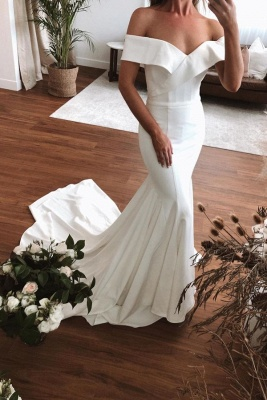 Sexy Off The Shoulder V Neck Pleates Mermaid Wedding Dresses_1