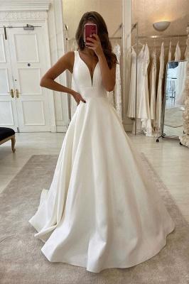 Straps V Neack Sash Pleated Satin A Line Wedding Dresses_1