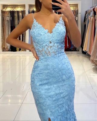 Spaghetti Strap V Neck Side Slit Lace Floor Length Mermaid Prom Dresses_6