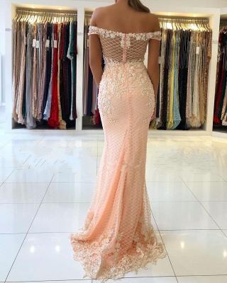 Off The Shoulder Sweetheart Floral Pearls Floor Length Mermaid Prom Dresses_3