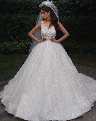 Elegant Straps V Neck Backless Floral Crystal Pleated Ball Gown Wedding Dresses_4