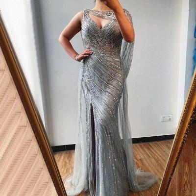 Luxury V-neck Beaded Fitted Evening Dresses | Dubai Diamond Formal Dress_2