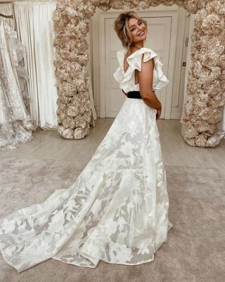Unique Off The Shoulder Backless Floral A Line Wedding Dresses_3