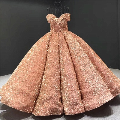 Sparkly Sweetheart Off the Shoulder Ball Gown Prom Dress | Dubai Luxury Bridal Gown_2