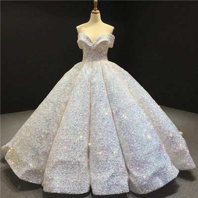 Sparkly Sweetheart Off the Shoulder Ball Gown Prom Dress | Dubai Luxury Bridal Gown_1