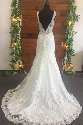 Straps Lace Pearls V Neck Mermaid Wedding Dresses | Backless Fitted Bridal Gown_2