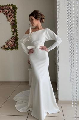 Long Sleeve Backless Sash Floor Length Mermaid Wedding dresses_1