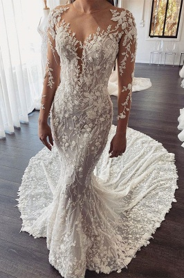 Elegant Jewel Long Sleeve Illusion Back Lace Floral Fitted Mermaid Wedding Dresses_1