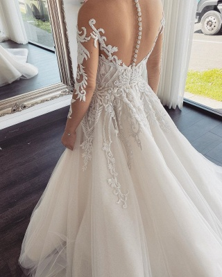 Sexy Jewel Nude Illusion Back Long Sleeve Lace Pleated A Line Wedding Dresses_3