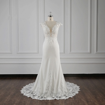 Elegant Ivory Chiffon V Neck Mermaid Wedding Dresses With Lace Appliques_1