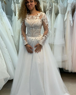 Elegant Jewel Long Sleeve Full Back Lace Pleated A Line Wedding Dresses_5
