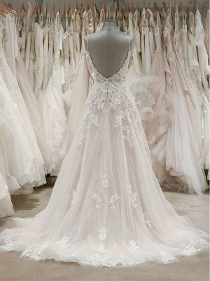 V Neck Spaghetti Strap Lace Wedding Dresses | A Line Wedding Gown_2