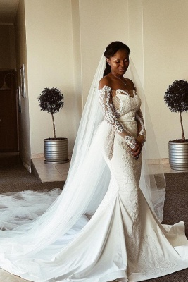 Sexy Off The Shoulder Long Sleeve Mermaid Wedding Dresses | Fit And Flare Applique Bridal Gown_1