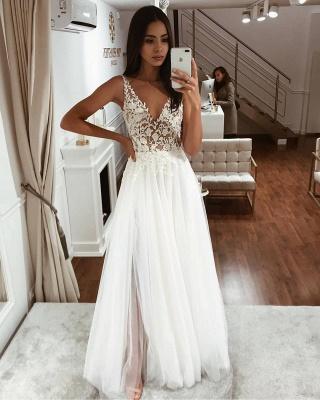 Straps V Neck Applique Lace V Back Tulle Floor Length A  Line Wedding Dresses_2