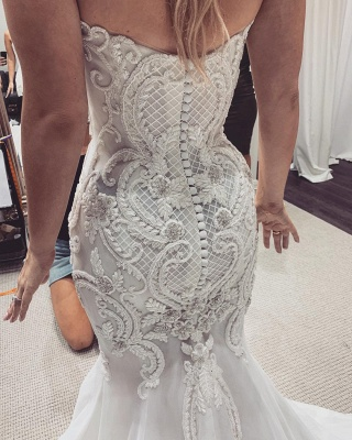 Sexy Sweetheart Backless  Lace Fit And Flare Mermaid Wedding Dresses_3