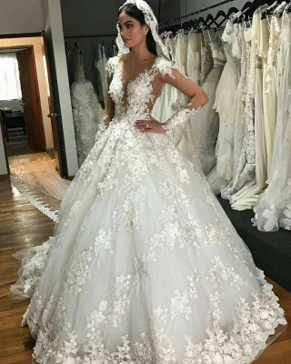 Luxury Jewel Long Sleeve Floral Ball Gown Wedding Dresses | Backless Floor Length Wedding Gown_2