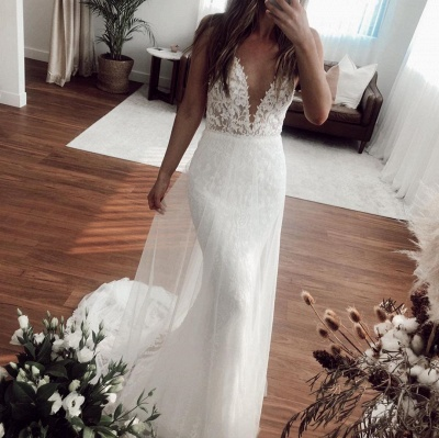 Sexy Straps Applique Crystal Floor Length Fitted Mermaid Wedding Dresses With Detachable Skirt_3