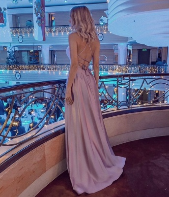 Halter Sleeveless Criss-cross Back Side Slit Floor Length Mermaid Prom Dresses_2