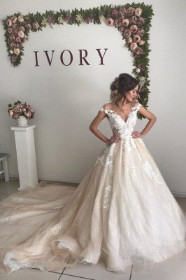 Sexy Jewel Backless Applique Pleated Sequin A Line Wedding Dresses_1