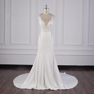 Elegant Sleeveless Ivory Satin Tulle Mermaid Wedding Dresses With Lace Appliques_1