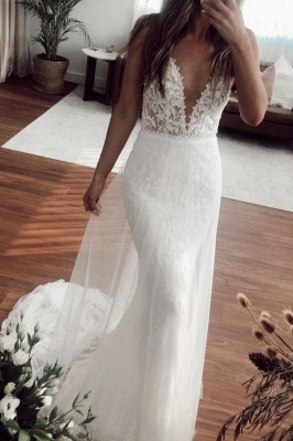 Sexy Straps Applique Crystal Floor Length Fitted Mermaid Wedding Dresses With Detachable Skirt_1