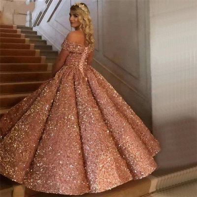 Sparkly Sweetheart Off the Shoulder Ball Gown Prom Dress | Dubai Luxury Bridal Gown_16