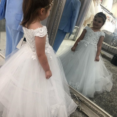 Sweetheart Cap Sleeve Floral Lace Up Back Ball Gown Flower Girl Dresses For Little Girl_2
