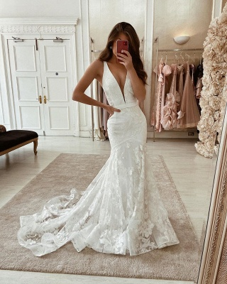 Straps Plunging V Neck Sash Applique Lace Mermaid Wedding Dresses_2