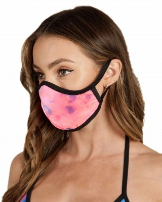 Blue V Neck Two Pieces Swimsuit With Matching Mask_6