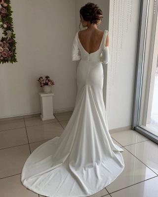 Long Sleeve Backless Sash Floor Length Mermaid Wedding dresses_2