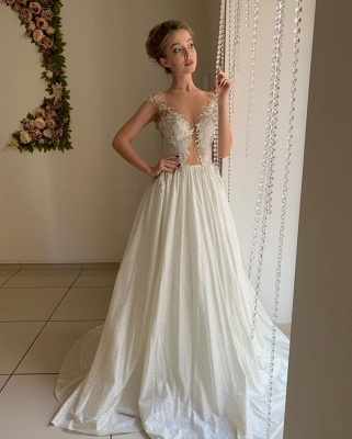 Elegant Sweetheart Cap Sleeve Applique Tulle Pleated A  Line Wedding Dresses_2