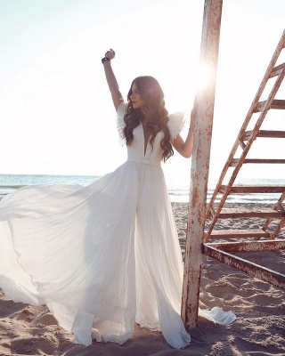 Sexy Short Sleeve Floor Length Tulle Flowing A Line Wedding Dresses_6