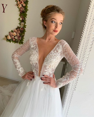 Elegant Long Sleeve Plunging V Neck Applique Flowing Tulle A Line Wedding Dresses_3