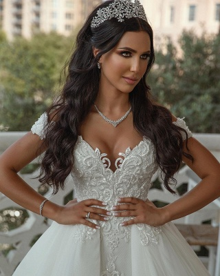 Stunning Sweetheart Off The Shoulder Crystal Sequin Applique Sheath Wedding dresses With Detachable Train_4