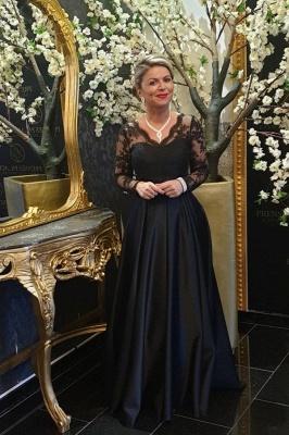 Elegant Long Sleeve V Neck Floor Length A Line Prom Dresses_1