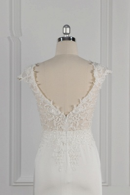 Elegant Ivory Chiffon V Neck Mermaid Wedding Dresses With Lace Appliques_7