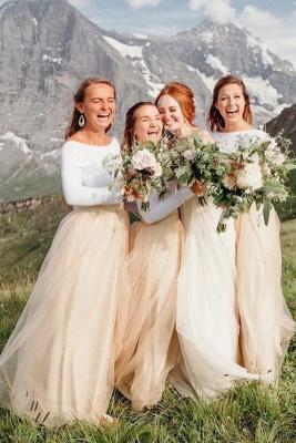 Long Sleeve Jewel Floor Length Bridesmaid Dresses_1