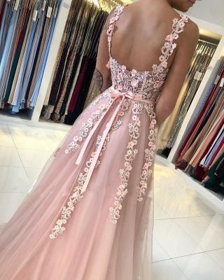 Spaghetti Strap Backless Applique Sash  Floor Length A Line Prom Dresses_4